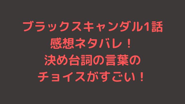 ブラックスキャンダル1話感想ネタバレ!決め台詞の言葉のチョイスがすごい!