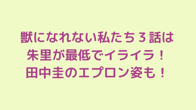獣になれない私たち3話は朱里が最低でイライラ!田中圭のエプロン姿も!