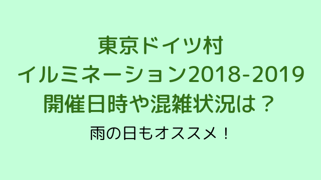 東京ドイツ村イルミネーション2018-2019開催日時や混雑状況は?雨の日もオススメ!