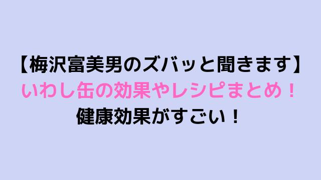 【梅沢富美男のズバッと聞きます】いわし缶の効果やレシピまとめ! 健康効果がすごい!