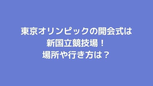 東京オリンピックの開会式は新国立競技場!場所や行き方は?